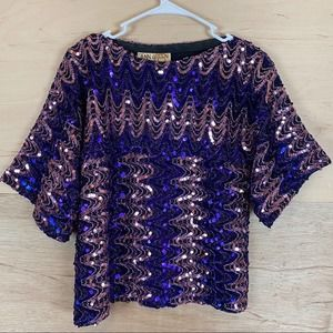 Ann Green Sequined Blouse Made in England Small